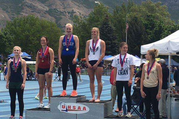 Hannah Stetler stands atop the podium at the 2017 Class 5A state track meet (Hannah Stetler/Bingham Track Team)