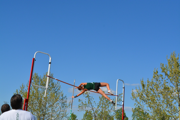 Gracie Otto breaks the 4A pole vault record at the region championship meet. Otto, with a gymnastics background, would go on to break that record two weeks later at the state meet. (Marie Otto)