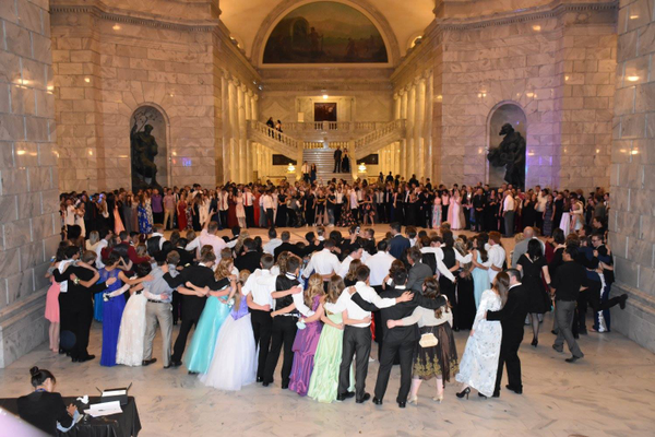 Murray High students and alumni dance at the centennial ball at the Utah State Capitol. (Jodi Mismash/Murray High School)