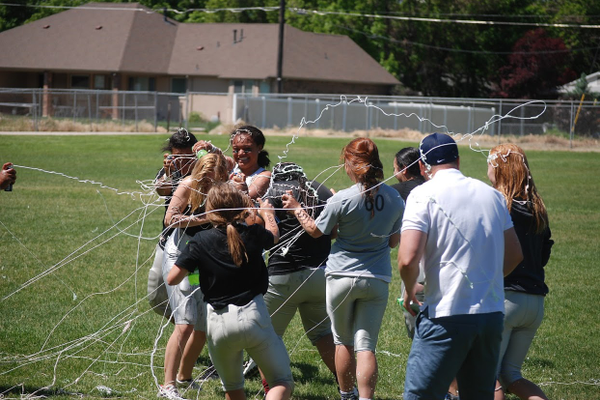 Herriman celebrated its state championship victory by dousing each other with sugar free Mountain Dew and silly string. (Greg James/City Journals)
