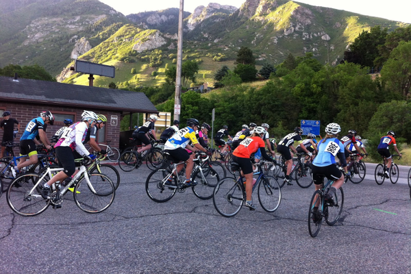 Cyclists are off at the 16th Annual Porcupine Hill Climb starting line. (Porcupine Pub and Grill).