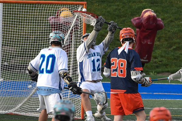 Goalie Brendan Roberts makes a save in the state title game against Brighton. Juan Diego won the state title 10-9. (Bob McLellan/Draper)