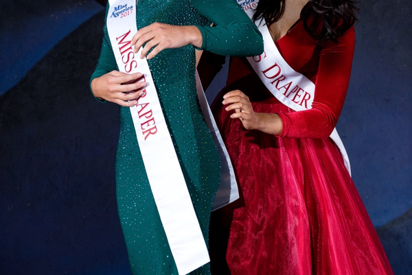 Sage Nielsen passes the title onto Tabitha Wilson at the Miss Draper Pageant in April. (Tabitha Wilson/courtesy)