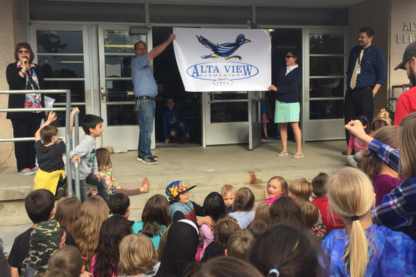 Alta View Elementary's logo for its new school is unveiled to students and their families at the end of the school year. Students will attend the new school this coming school year. (Julie Slama/City Journals)