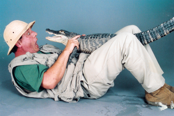 John gets up close with an alligator.