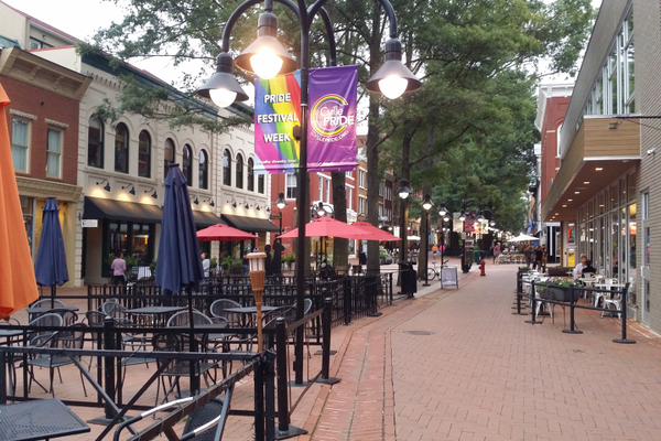 The Downtown Mall in Charlottesville, VA