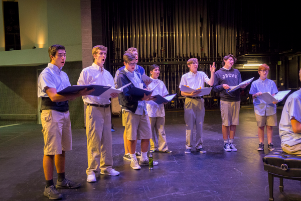 "The cast of ""Godspell"" rehearse in preparation of performances starting Oct. 26. (Joe Crnich/JDCHS)"