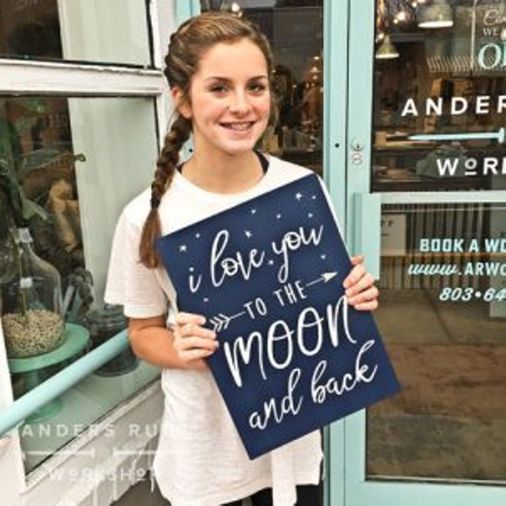 I love you to the moon and back wood sign 300x300