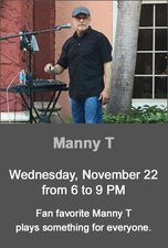 Manny T performing live at The Center Bar - start Nov 22 2017 0600PM