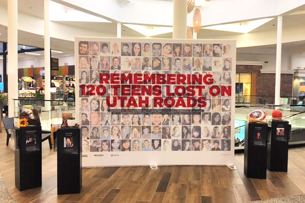 Display at The Shops at South Town memorializing 120 teen lives lost on Utah roads (Photo Courtesy Zero Fatalities)