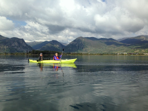 Kayakers paddle on the freshwater reservoir known as Lake Dillon nestled among the mountains Photo by Alison Roberts-Tse