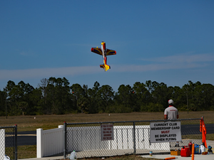 At Seahawk Park a club member pilots a replica stunt plane Photo courtesy of RSea Hawks Cape Coral Flying Club