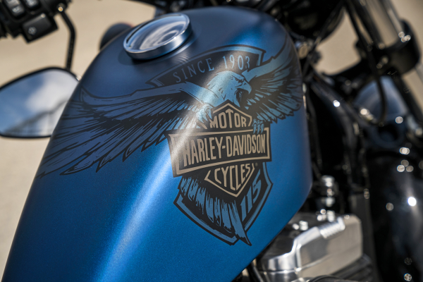 H-D began in 1903 but didn't use its logo—now the stuff of legends—until 1910. A year later, it was trademarked at the U.S. Patent Office. Here it's on the tank of a 2018 XL 1200X Forty-Eight 115th Anniversary. Photo courtesy of Harley-Davidson.