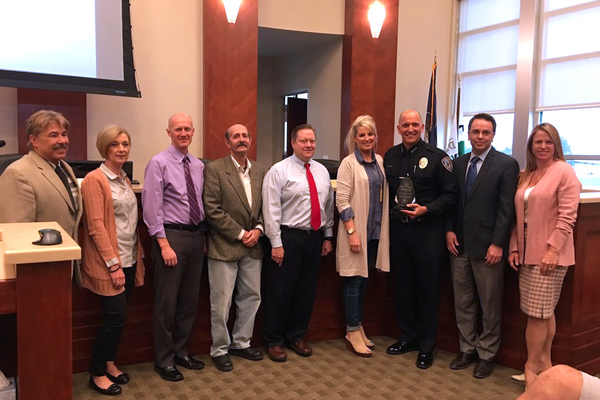 Former Police Chief Bryan Roberts stands with the council in March after being recognized as Police Chief of the Year by the Utah Police Chiefs Association. (City Journals)