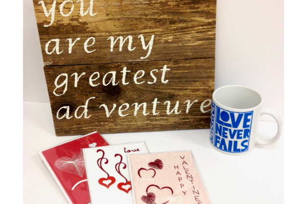 Wood sign, Valentine's Cards, and Raw Art Letterpress Assorted Coffee Mug