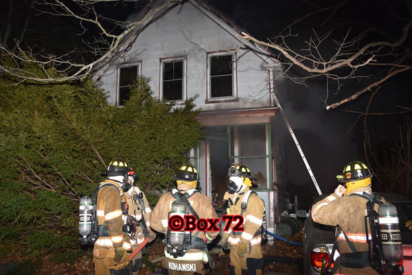 Two-alarm fire at 46 St. James St., Dracut on Thursday, Feb. 22. (Photo courtesy of Dave Avery/Box 72 Incident Photos)