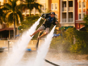 Confidence goes sky high when people get the hang of using a jet pack Photo courtesy of SkyHigh JetPacks