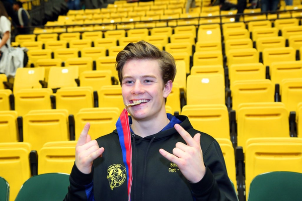 Taylorsville High School senior Caleb Schulte captured a state wrestling title in the 160-pound weight division. (Photo courtesy Caleb Schulte)