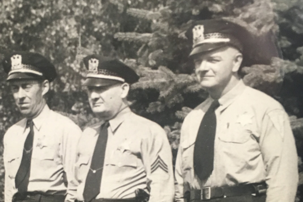 Far right, John Eining's grandfather, Jack Sinclair, police sergeant for Chicago. (Photo courtesy John Eining)