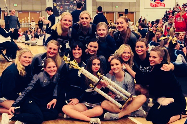 The Corner Canyon High varsity and junior varsity teams pose after winning the state cheerleading titles Jan. 26 at Salt Lake Community College. (Photo courtesy of Whitney Lunt)