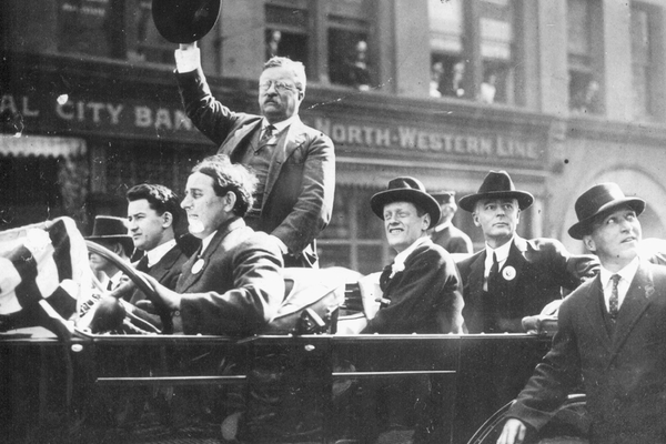 "Ole Hanson, second from right, ""Moosing"" it with Teddy Roosevelt in Seattle."