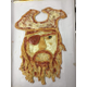 A grizzled pirate with breadstick beard and black olive eye.