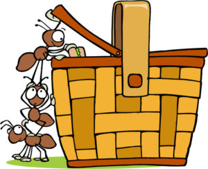 Ant picnic clipart ants and picnic basket 300x244
