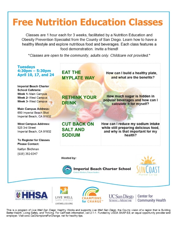 Free Weekly Nutrition Education Classes To Be Offered At Ib Charter