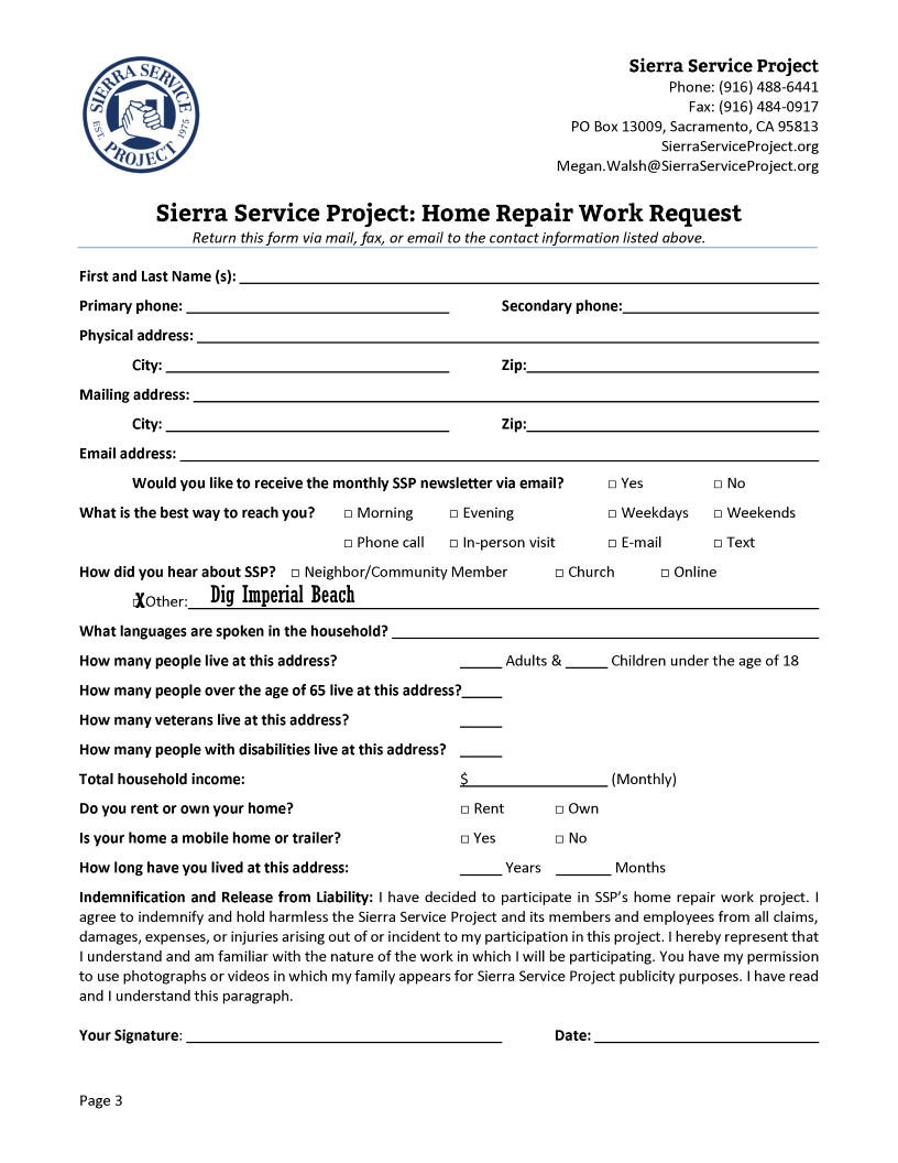 Sierra Service Project to Offer Free Home Repairs for