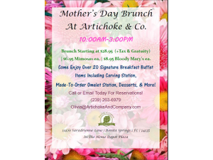 Artichoke And Companys Mothers Day Brunch - start May 13 2018 1000AM