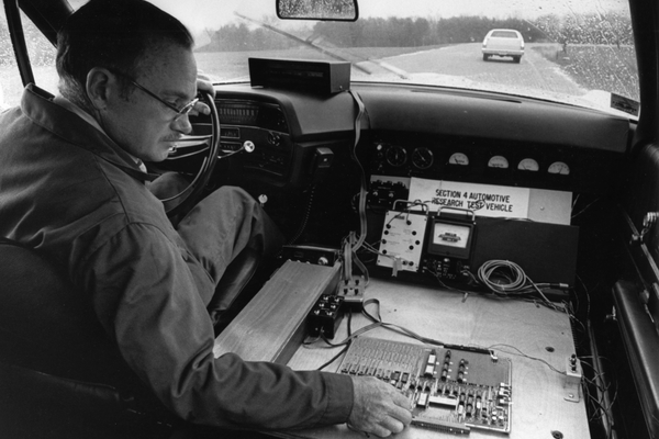 James W. Tuska operating an experimental auto radar unit developed at RCA Laboratories in Princeton, N.J. The unit was being developed to avoid, or mitigate, high-speed collisions when the car is controlled solely by the driver, or in conjunction with conventional cruise control units. (Courtesy Hagley Museum & Library)