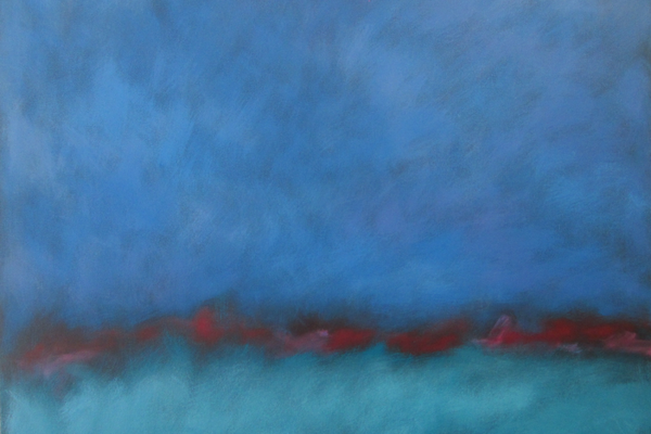 One of Dave Eldreth's abstract paintings, suggesting sea and sky.