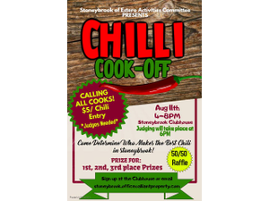 Stoneybrook Chili Cookoff - start Aug 11 2018 0400PM