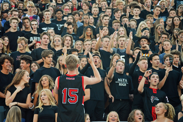 The Alta high student section was happy to finally have a home game.