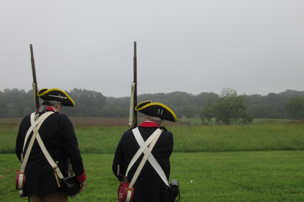 Reenactors look over the landscape near Birmingham Hill, which has changed very little since Sept. 11, 1777.