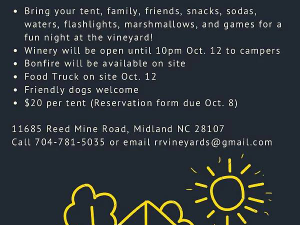 CAMPING IN THE VINES - start Oct 12 2018 0300PM