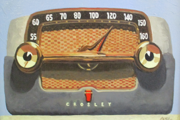A painting of a vintage radio by Brad Earl.