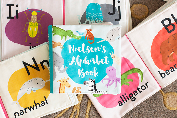 Animal Alphabet Cloth Book, $85, at Pitter Patterned Organic Quilts + Goods