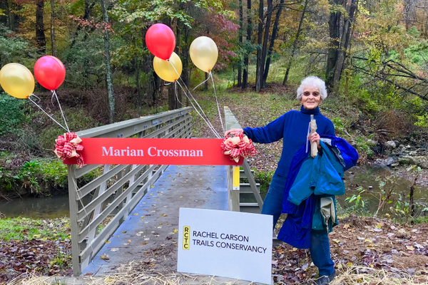 Marian Crossman at the opening of the bridge named in her honor.