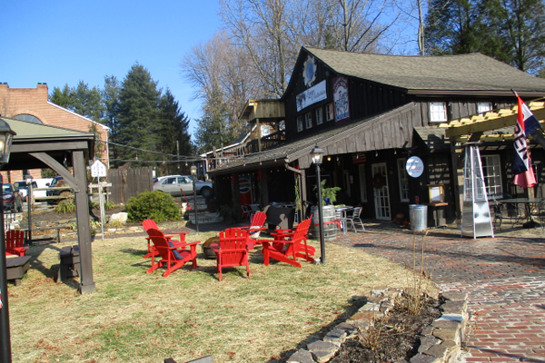 The patio area outside the cafe has been designed to invite lingering during warmer months.