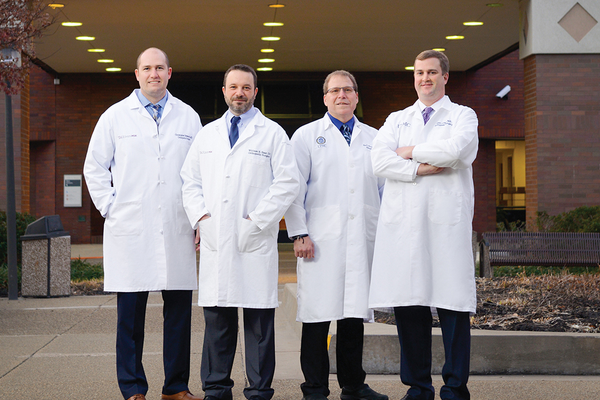 Christopher Edwards, MD, William Saar, DO, Carl Hasselman, MD, and Alex Kline, MD with UPMC Orthopaedic Care.  (Not pictured: Stephen Conti, MD, MaCalus Hogan, MD, and Alan Yan, MD)