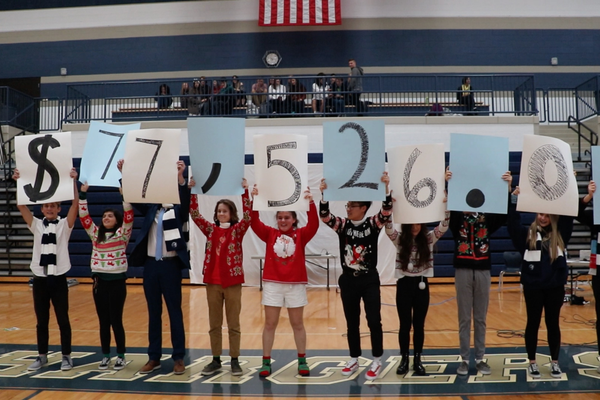 Corner Canyon student leaders revealed the amount students raised for the Tyler Robinson Foundation at their winter fundraiser assembly. (Photo courtesy of Corner Canyon High)