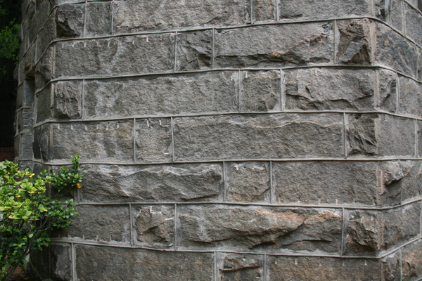 A closeup of the stone wall inside the tower.