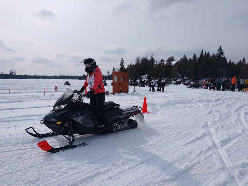Big turnout watch snowmobile races at Poplar Lake Saturday
