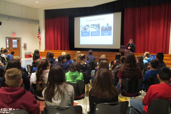 An audience of about 90 sixth graders saw the presentation in Oxford.