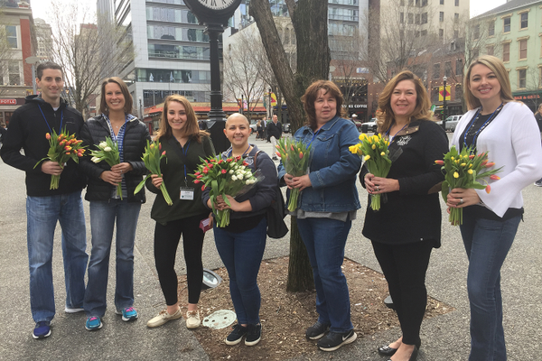 Parkinsons Awareness Month—volunteers distributed tulips, the official symbol of Parkinson's disease