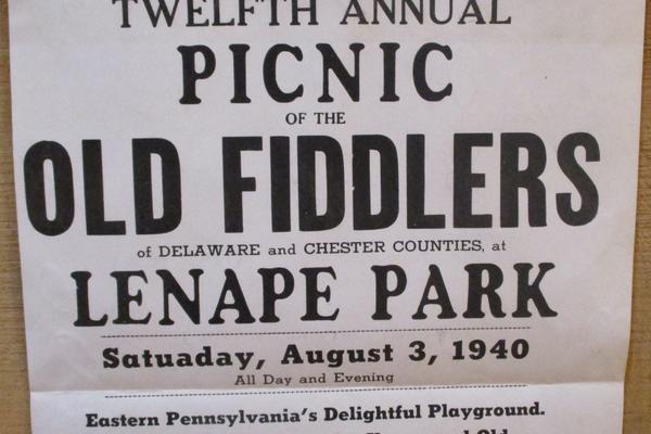 A poster for an early Old Fiddlers Picnic.