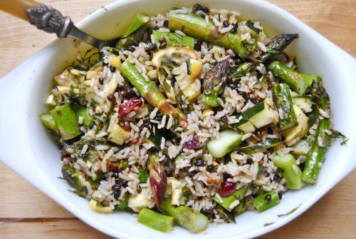 Wild Rice Asparagus, Lemon, Cranberries and Tarragon