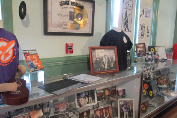The new exhibit devoted to Newark bands fills two display cases.