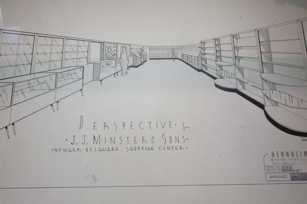 A 1955 drawing for the interior of Minster's Jewelers.